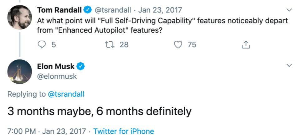 Elon Musk replying in 2017 that Tesla will have ″Full-Self Driving Capability″ by mid-2017