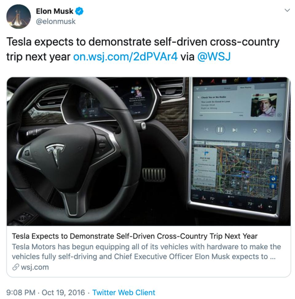Elon Musk tweet about self-driven cross-country road trip by 2017