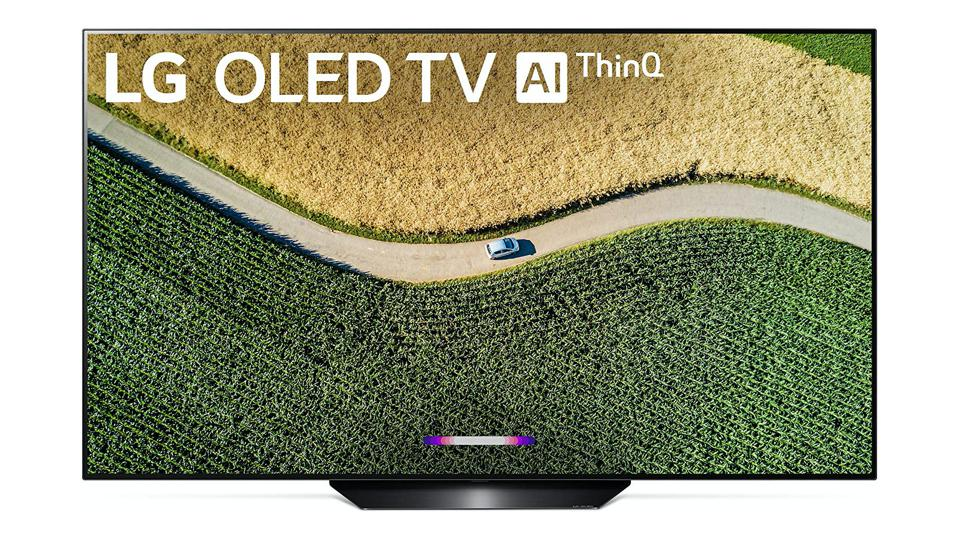 LG B9 TV with a colorful image on a white background.