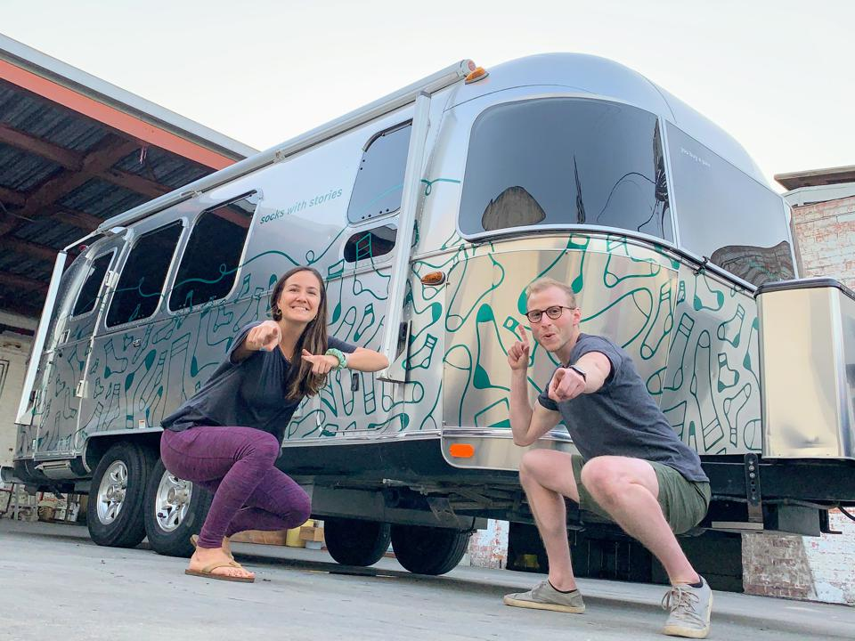 Teitelbaum and Corrion pose in front of their Airstream.