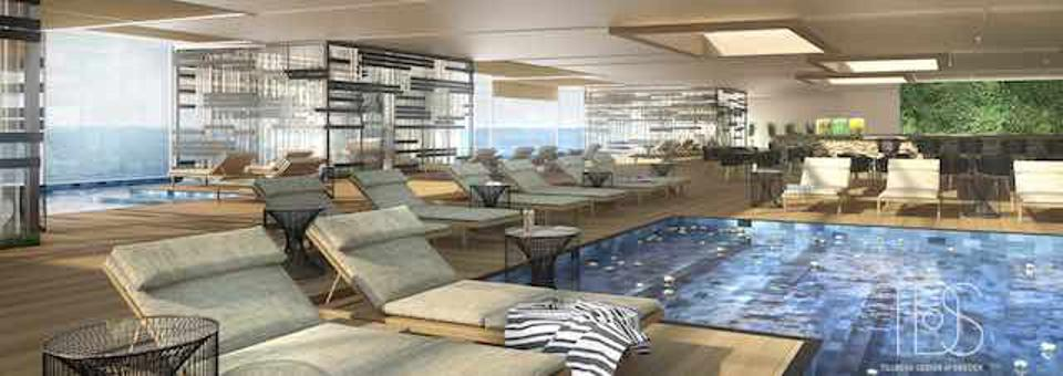 Rendering of the spa and wellness area on the ship