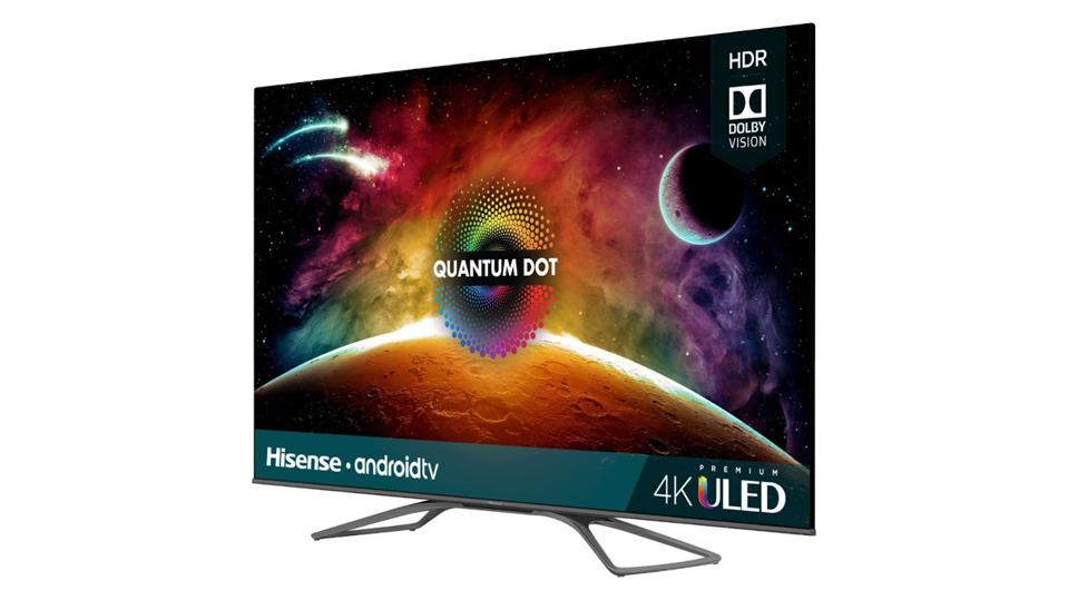 65-inch Hisense H9F TV with a colorful image and on a white background.