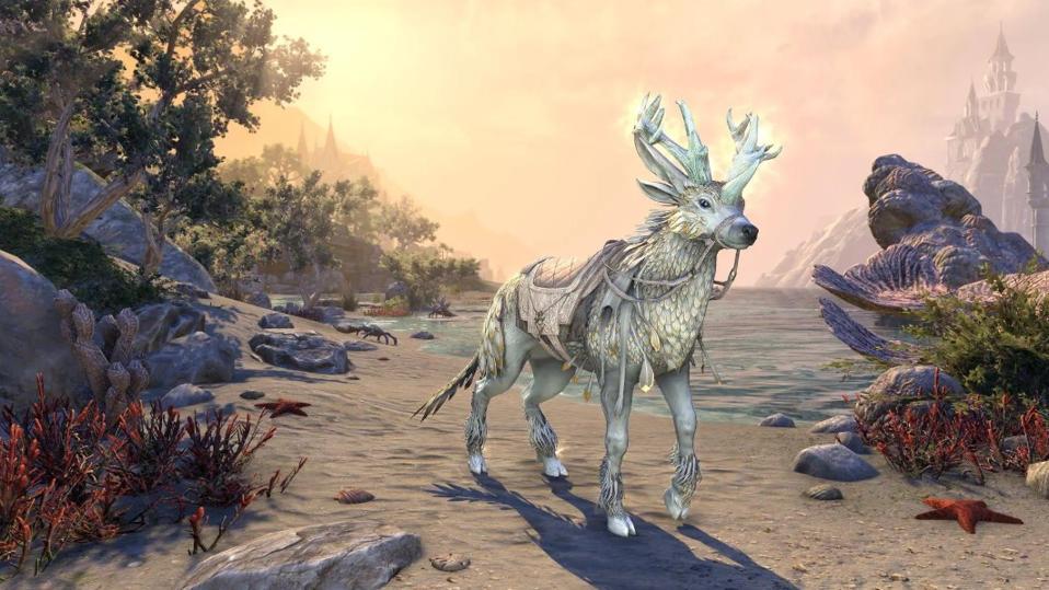 The new Pure-Snow Indrik mount in Elder Scrolls Online.