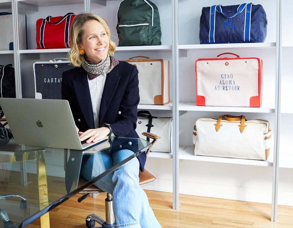 Indre Rockefeller, cofounder of Paravel, surrounded by her designs at Paravel's New York office.