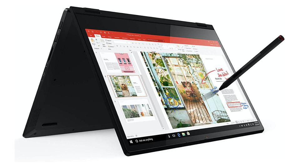 Lenovo Flex 14 2-in-1 being used in tablet mode with a stylus.