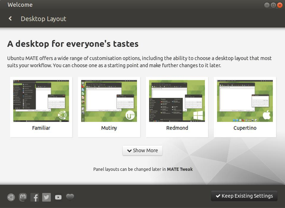 Ubuntu MATE's new Welcome Screen includes the ability to choose one of four desktop layouts right out of the box.