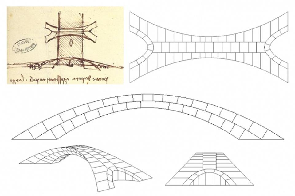 Leonardo da Vinci's original drawing of the bridge proposal (top left), showing a bird's eye view at top and a side view below, including a sailboat passing under the bridge.