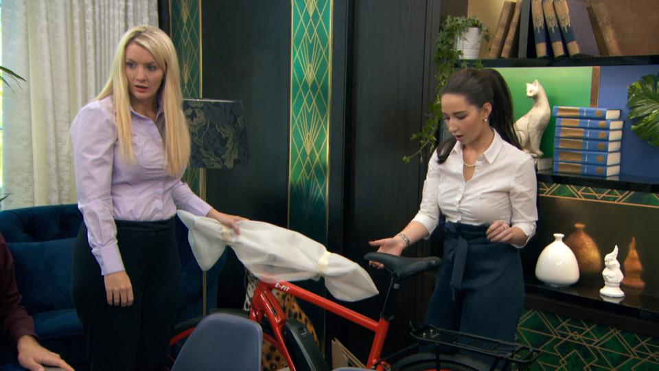 The Apprentice candidates Marianne Rawlins, Lottie Lion Marianne during episode 4.