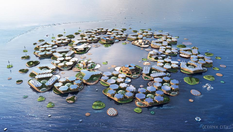 Render of the Oceanix city concept.
