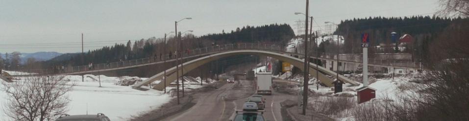 Leonardo Da Vinci's bridge design recreated as a pedestrian crossing in a much smaller scale in Ås, Norway.