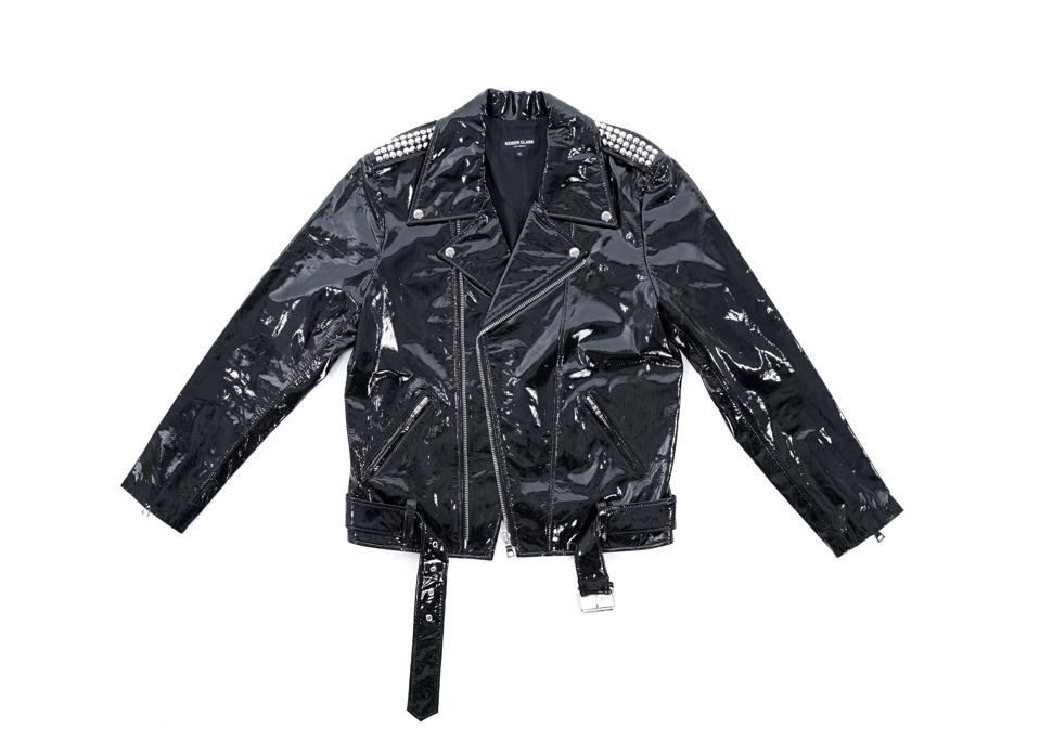 Flatlay - Patent Leather Biker Jacket