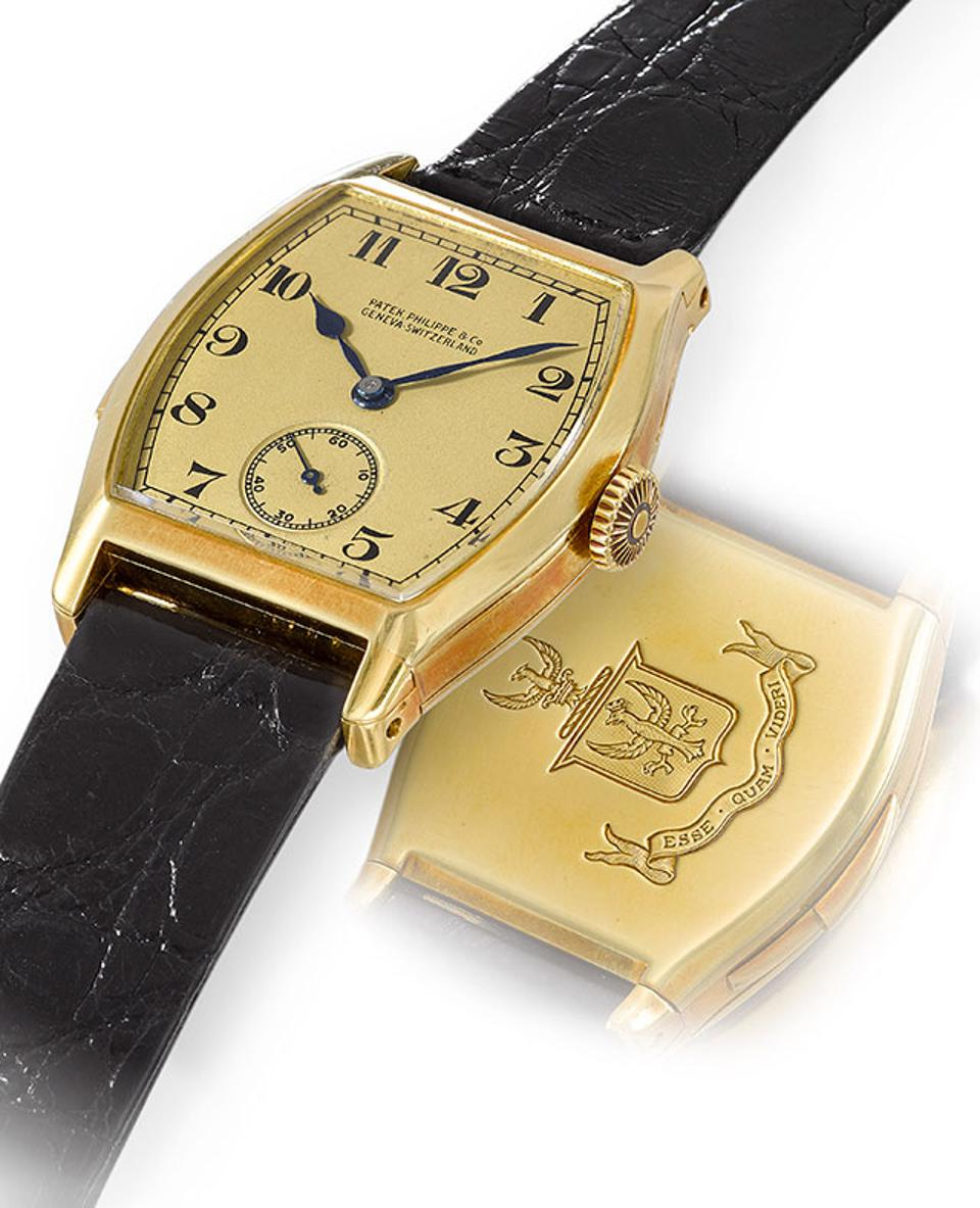 This yellow gold tonneau minute repeater was made by Patek Philippe for Henry Graves Jr. in 1927. It is being sold by Christie's for CHF 3-5-million.