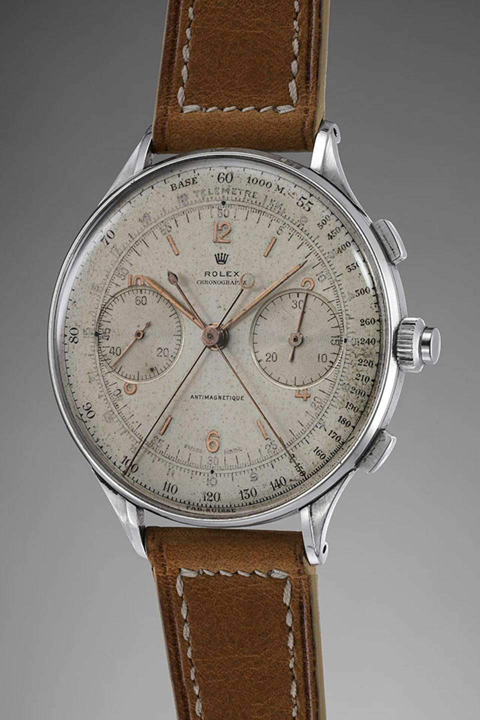 The 1942 Rolex Ref. 4113 split-seconds chronograph is being sold by Phillips for CHF 1.5-3-million.