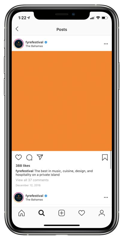 The orange square Fyre Festival used to promote its festival.
