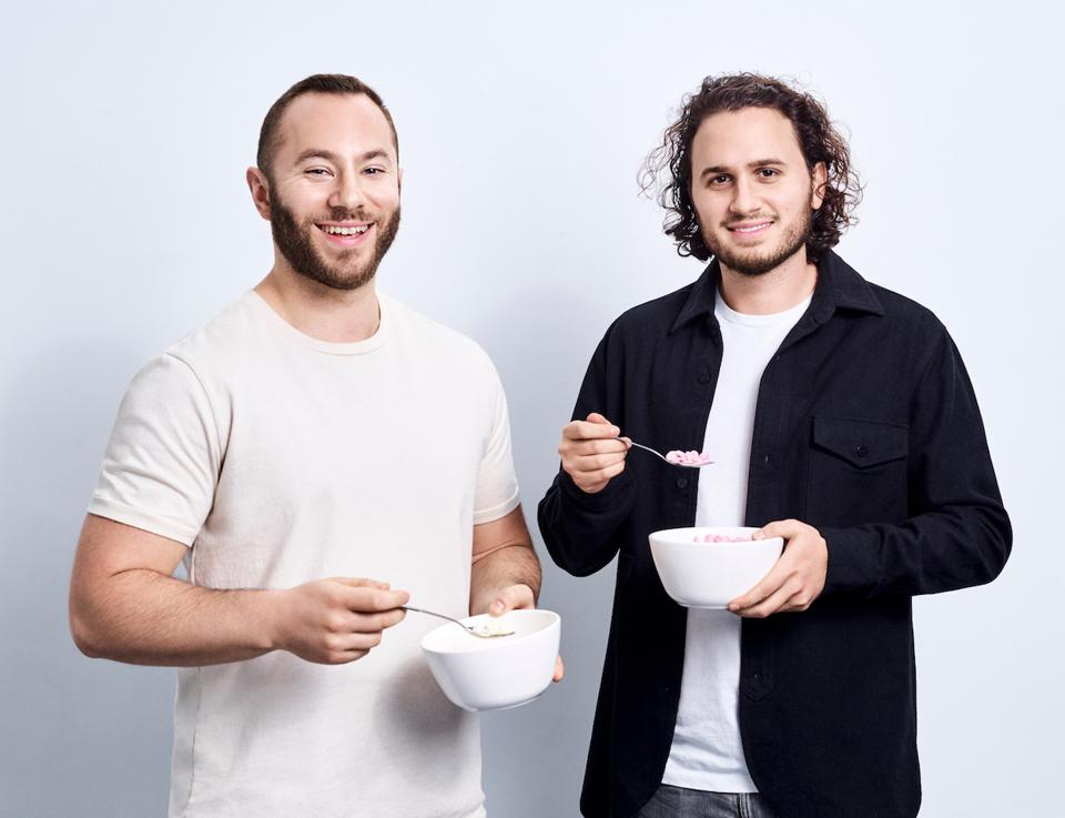 Magic Spoon founders Gabi Lewis and Greg Sewitz with their cereal.