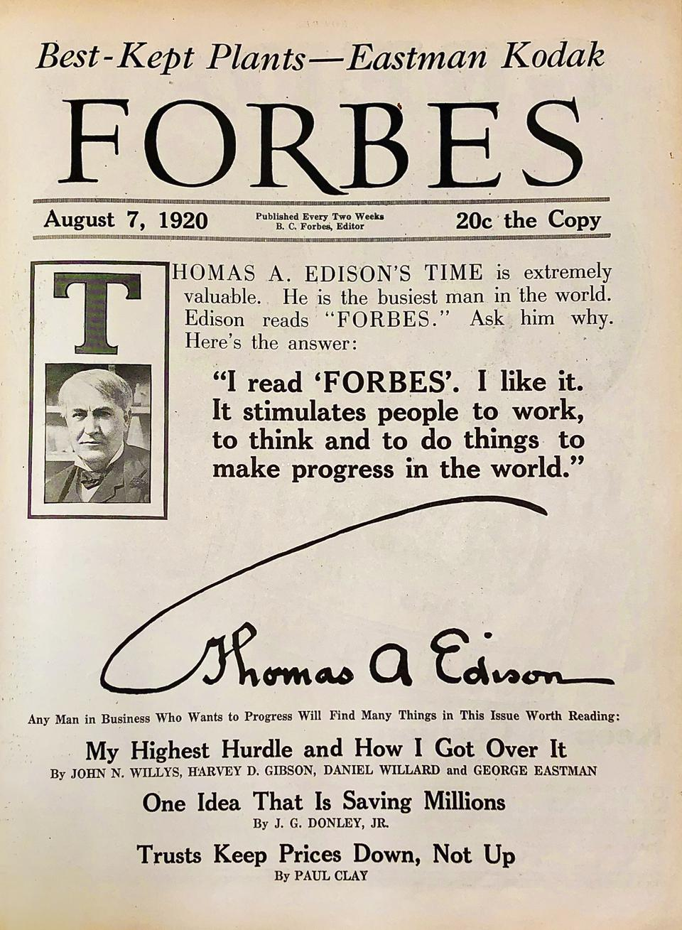 Forbes Thomas Edison Cover August 1920