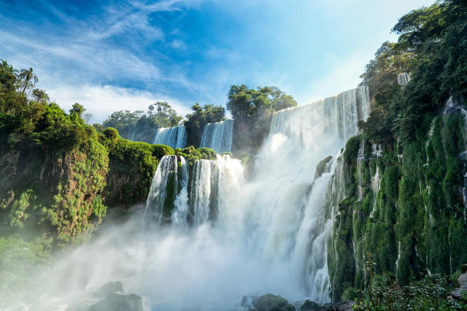 South America's Iguazú Falls are photographed by many tourists.