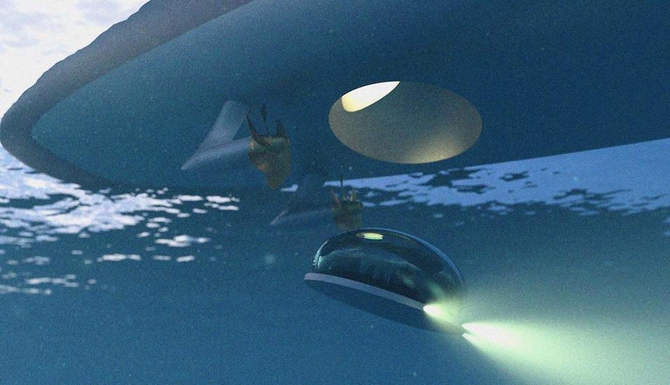 Submarine escape pod under yacht