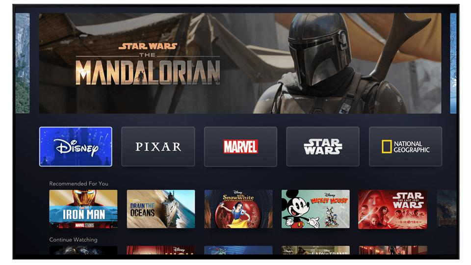 User interface of Disney+ with content from Disney, Pixar, Marvel, Star Wars, and more.
