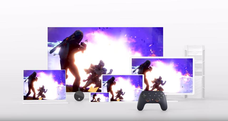 Collection of different devices playing a game streamed with Stadia.