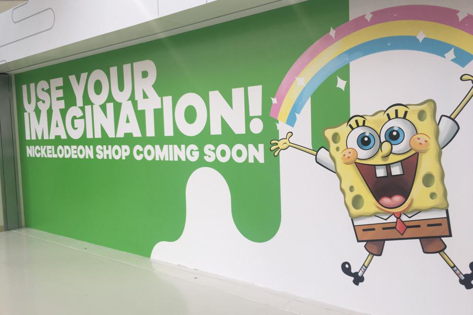 A sign on the future home of the Nickelodeon gift shop in the amusement part at American Dream Meadowlands.