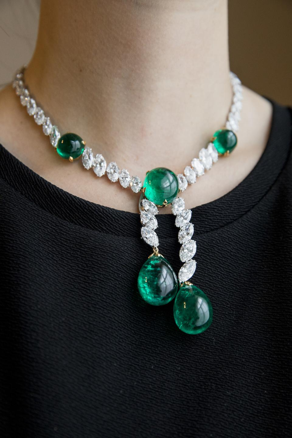 Colombian emerald and diamond necklace by Cartier