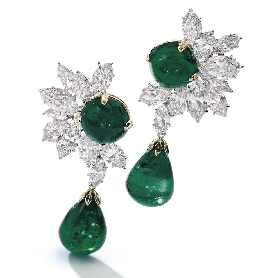 Colombian emerald and diamond earrings by Harry Winston, in the Magnificent Jewels and Noble Jewels sale at Sotheby's Geneva, November 13, 2019