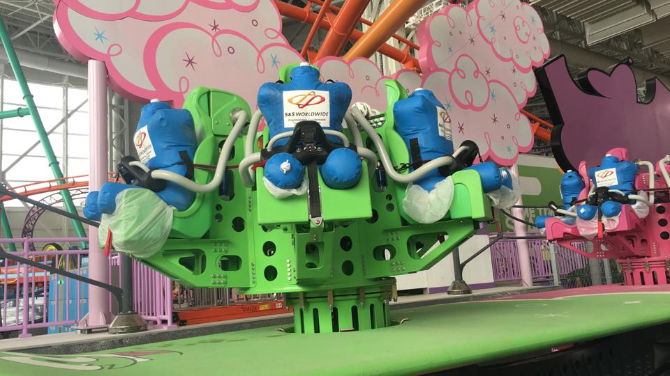 Test dummies strapped into a ride at the American Dream Meadowlands amusement park.