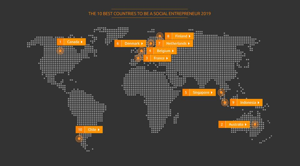 Top 10 best countries to be a social entrepreneur 2019