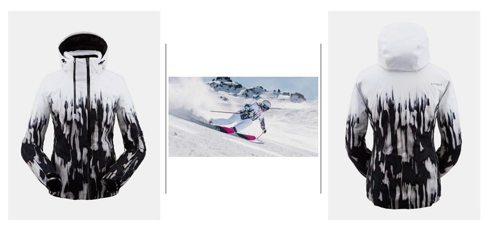Spyder ski jacket and woman skiing down a ski trail.