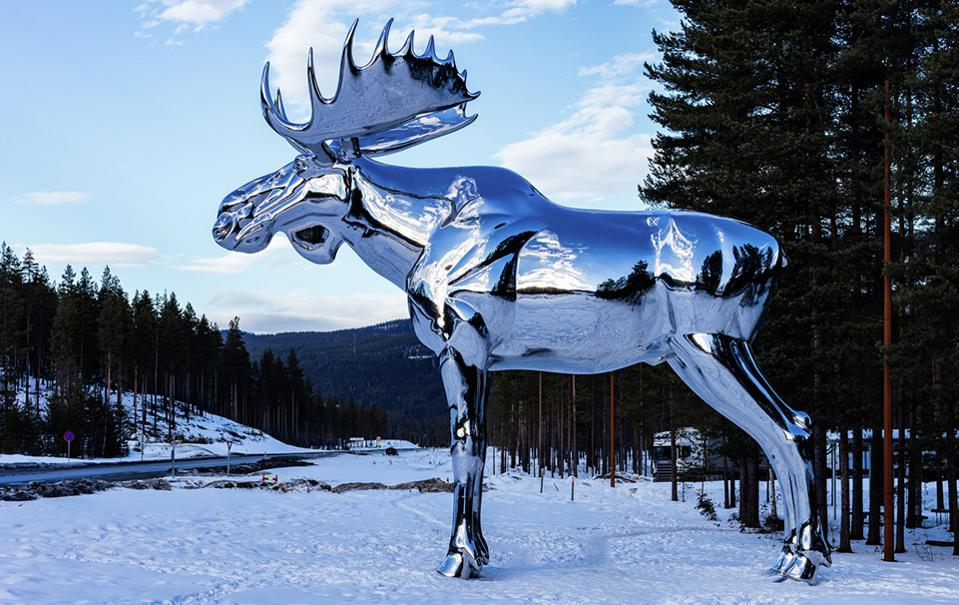 Norway's moose sculpture at a rest stop off the RV3 road in Elverum.