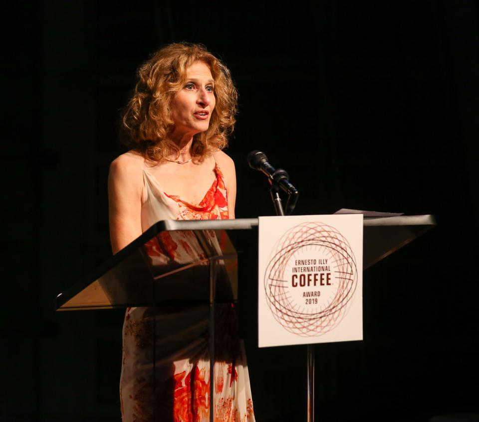 Joan Michelson as emcee of the Ernesto Illy International Coffee 2019 Awards Gala