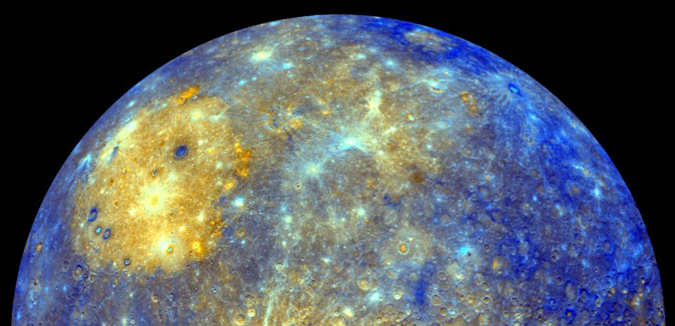 This spectacular color mosaic shows the eastern limb of Mercury as seen by NASA's Messenger as the spacecraft departed the planet following the mission's first Mercury flyby in January 2008.