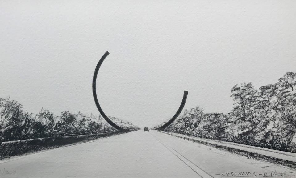 Bernar Venet's sketch of Arc Majeur