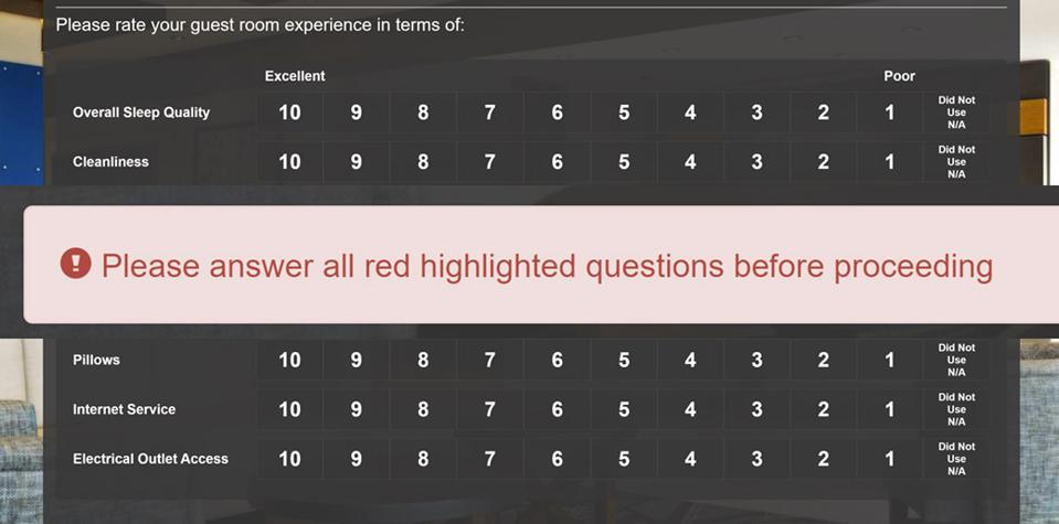Holiday Inn Express survey with popup