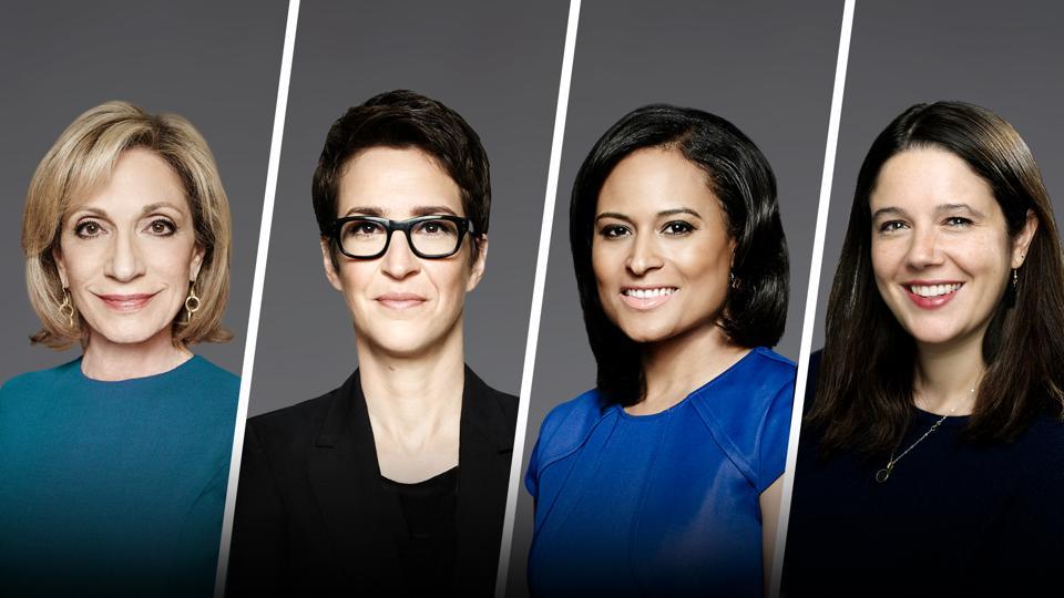 Andrea Mitchell, Rachel Maddow, Kirsten Welker and Ashley Parker