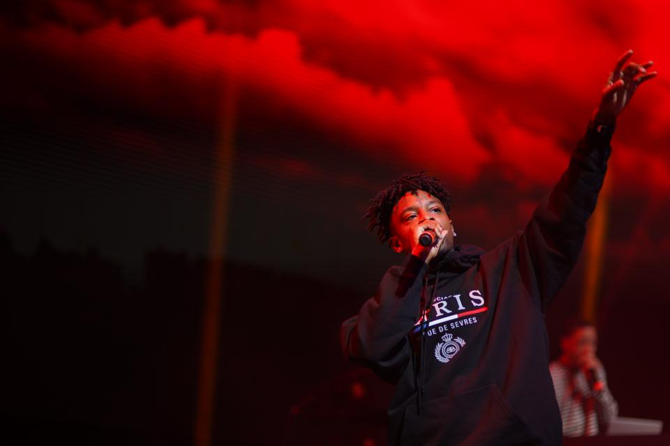 Red October: 21 Savage rocks the crowd at the Forbes Under 30 Summit Music Festival.