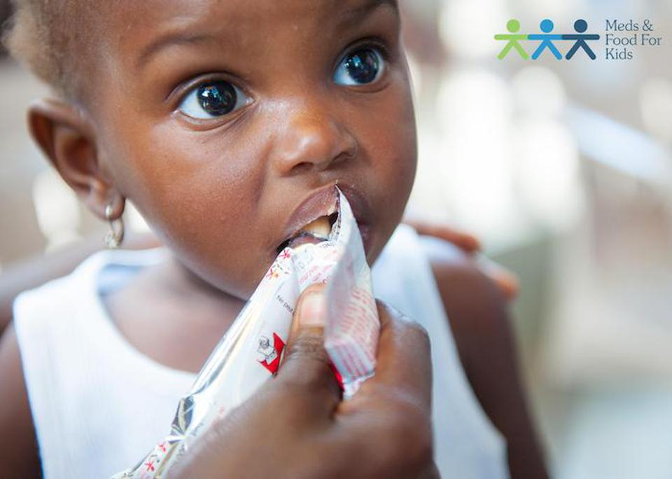 Severely malnourished children treated with Ready-to-Use-Therapeutic Food, a shelf-stable nutrient-rich peanut paste called Medika Mamba in Haiti, are cured in six to twelve weeks.