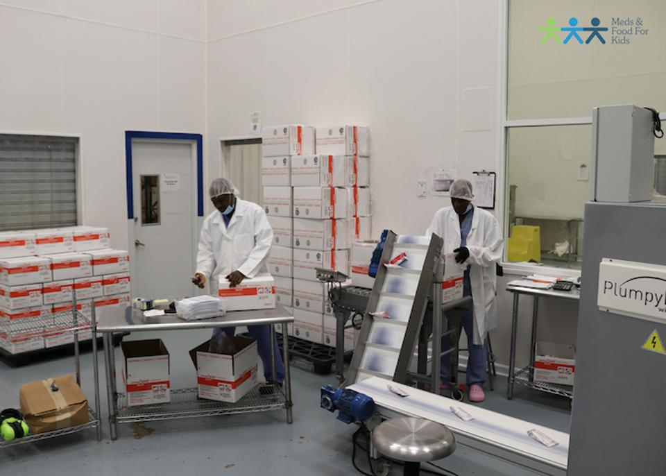 The Meds & Food for Kids factory produces enough Ready-to-Use Therapeutic Food (RUTF), called Medika Mamba in Haiti, to treat 80,000 malnourished children a year. MFK ships RUTF to 14 countries via UNICEF.