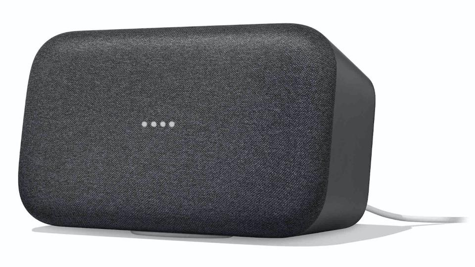 Charcoal Google Home Max smart speaker on a white background.
