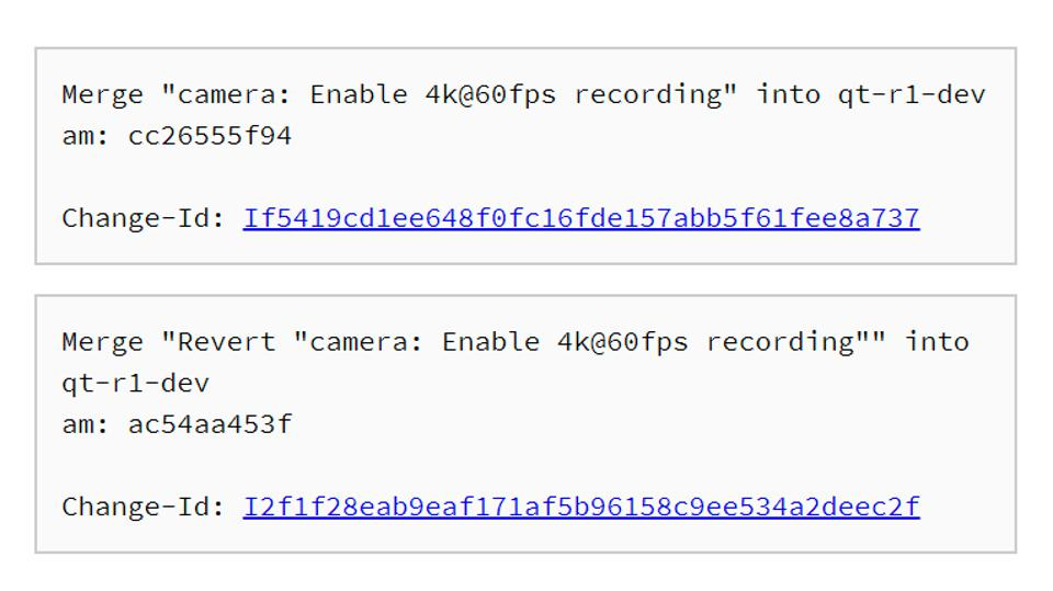 Source code showing Google adding and then removing support for 4K 60fps video recording on the Pixel 4.