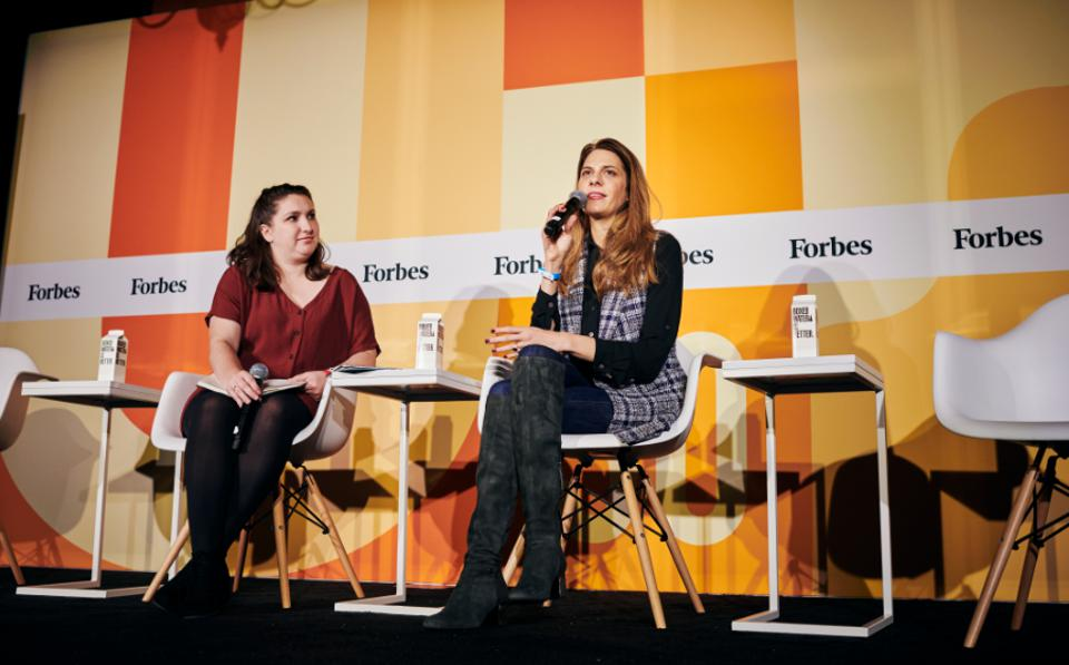 Talkspace founder Roni Frank (right) at Forbes' 30 Under 30 Summit in Detroit on Monday.