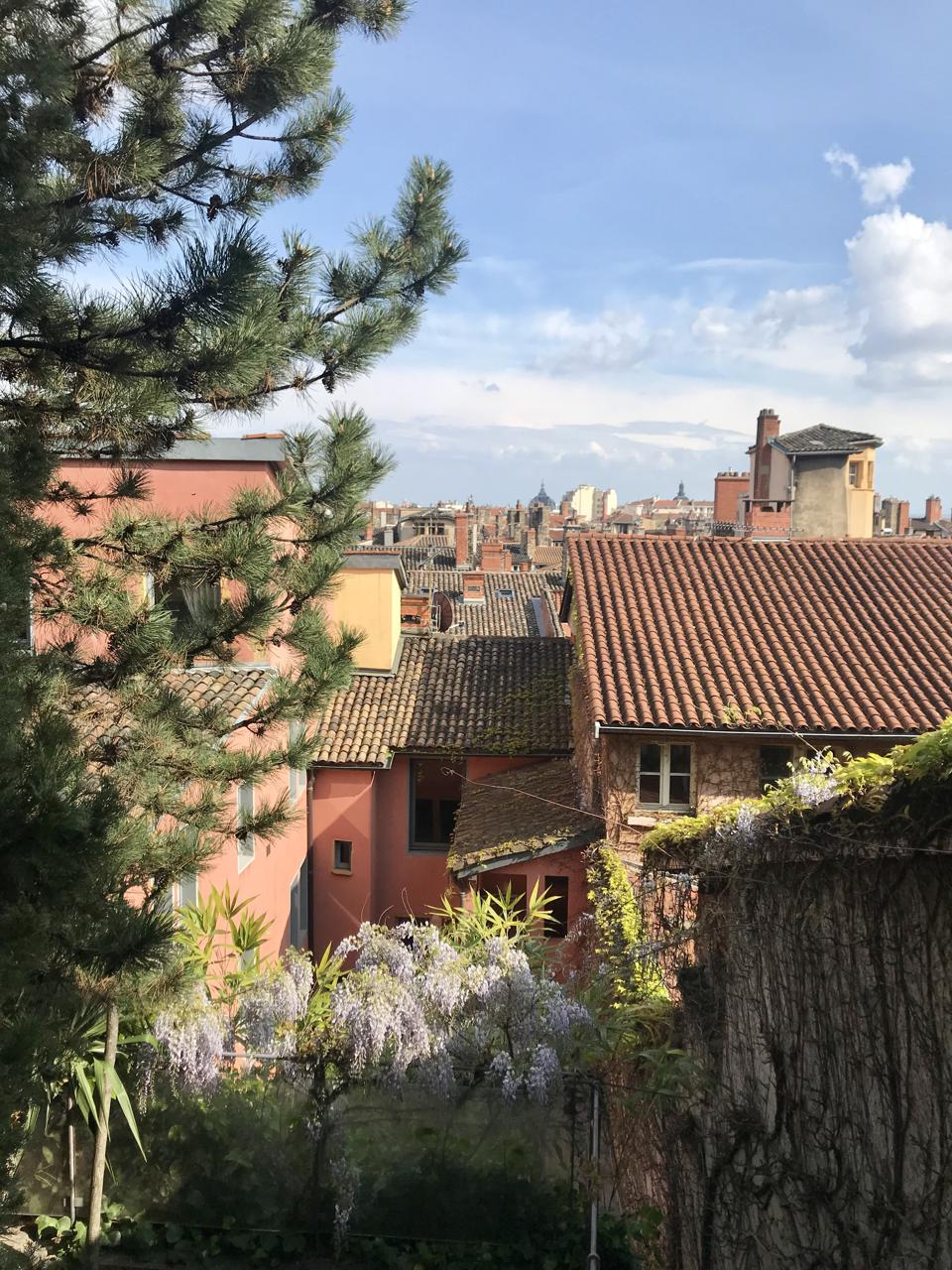 View over the Old Lyon from the Hanging Garden at Cour Des Loges