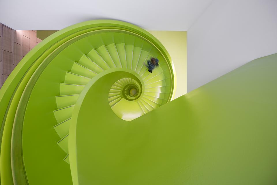 A staircase inside Lego's new Silicon Valley-style campus.