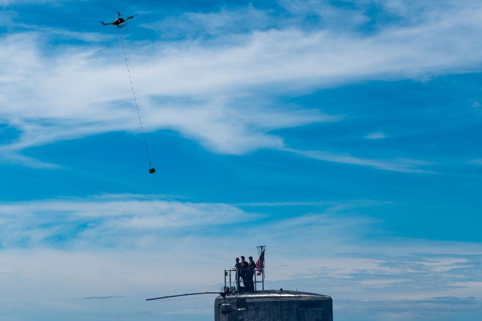 First Navy Submarine Resupplied By Commercial Drone