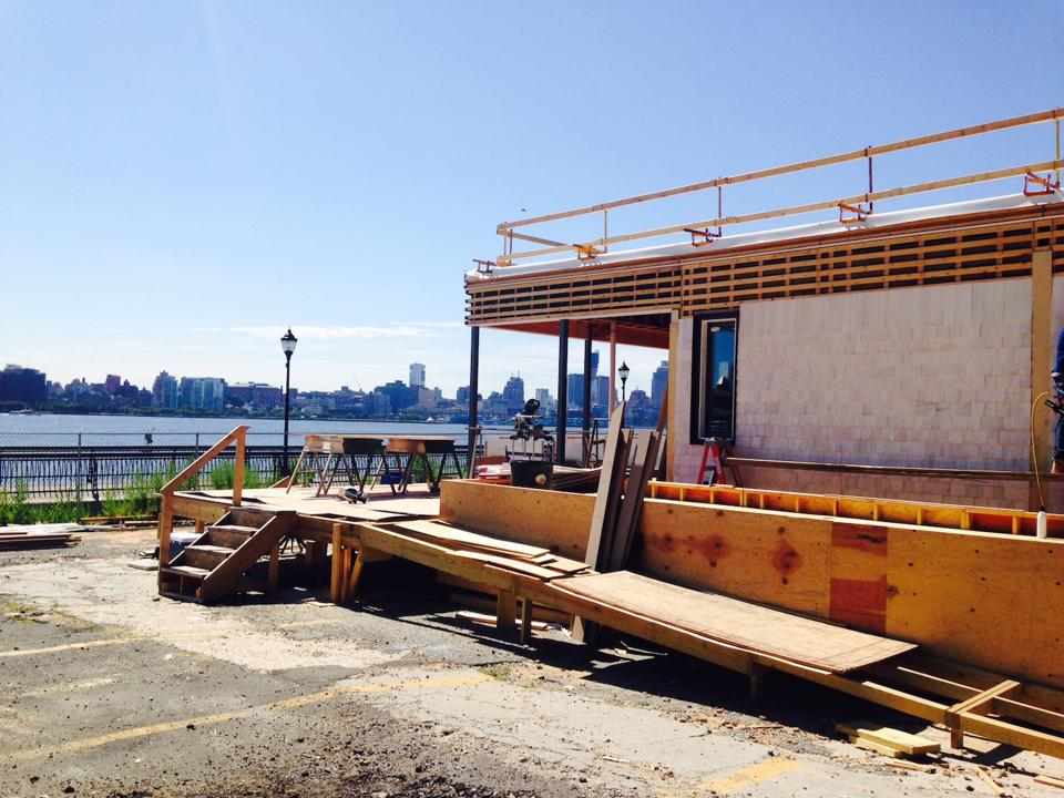 This shows the house under construction in NJ, overlooking NY.