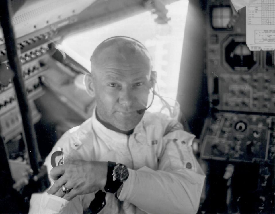 A rarely seen shot of Buzz Aldrin inside Apollo 11