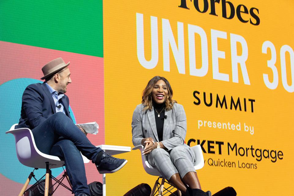 Randall Lane with Serena Williams at Forbes Under 30 Summit at the Masonic Temple.