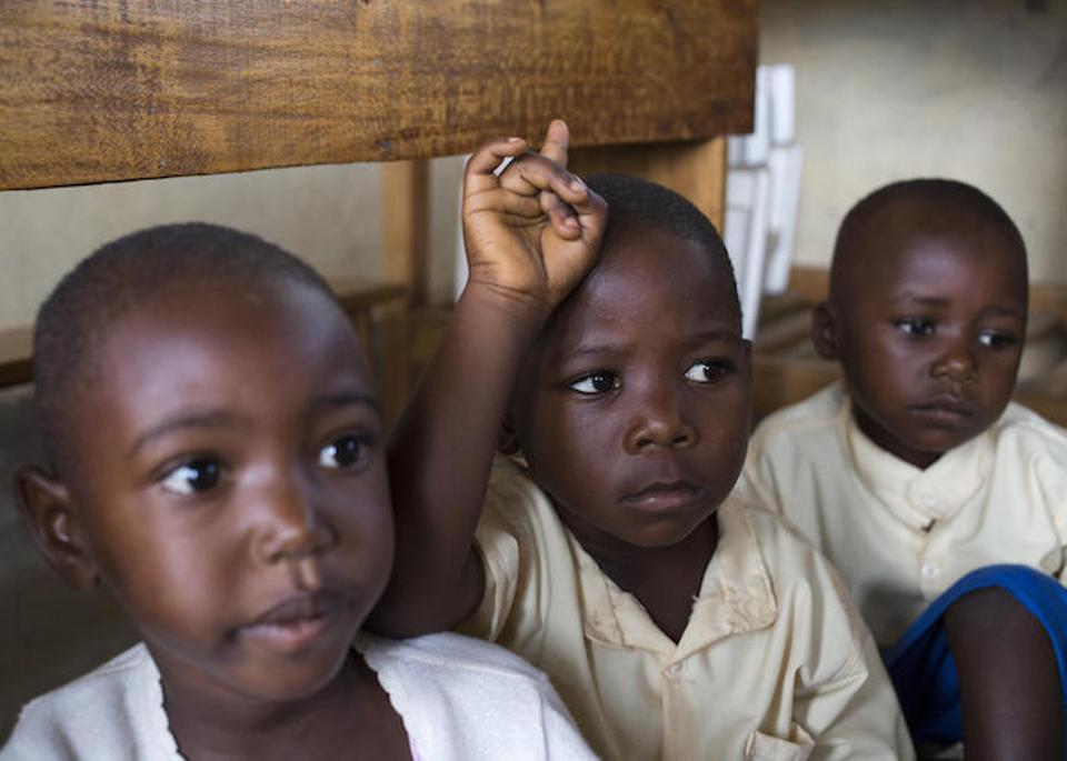 PreK students at the Michaela Tiggemann Primary School in Bujumbura, Burundi learn about the dangers and prevention of Ebola as part of a UNICEF-supported education campaign in September 2019.