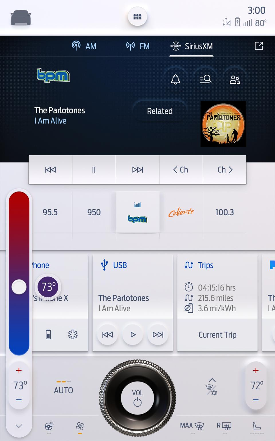 User interface for 15-inch version of Ford's SYNC 4 infotainment system